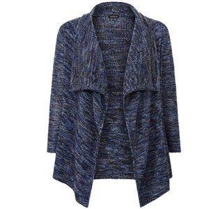 Torrid Multi Blue Gray Marled Draped Open Front Cardigan Size 2X